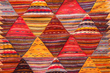 oriental rug: Texture of berber traditional wool carpet with geometric pattern, Morocco, Africa