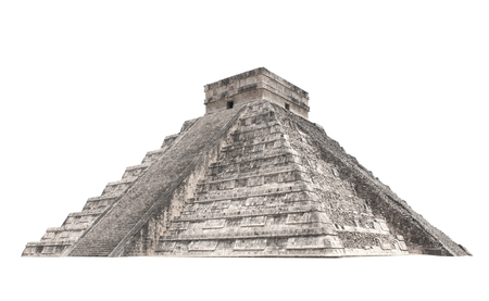 Ancient Mayan pyramid (Kukulcan Temple), Chichen Itza, Yucatan, Mexico. Isolated on white background