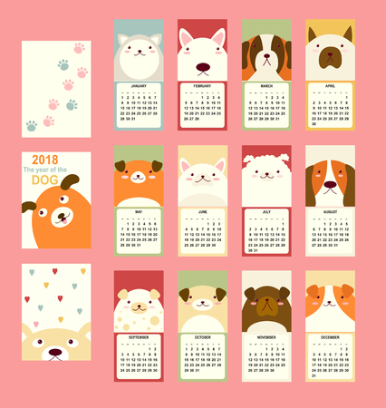 Monthly calendar 2018 with cute dog - bull terrier, husky, St. Bernard dog, jack russell terrier, basset-hound. Set of vector vertical editable template. Symbol of the year in the Chinese calendar. EPS8 Illustration