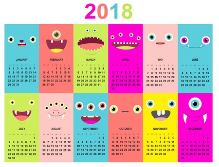 Monthly calendar 2018 with cute monsters faces of green, blue, yellow, pink, lilac and red colors. Set of vector vertical editable templates.
