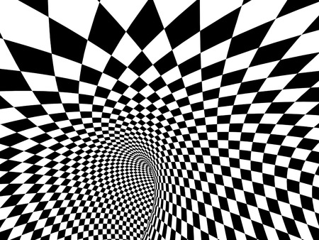 Abstract illusion. Black and white. 3d render Stock Photo