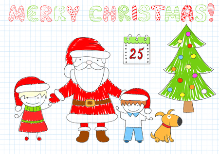 Two happy children and Santa Claus. Boy, girl, dog and Christmas tree. Sketch on notebook page in doodle style. EPS8