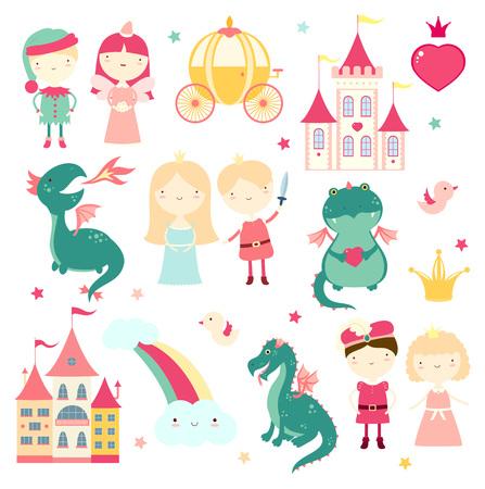 Vector set of cute fairy-tale characters - prince, princess, elf, dragon, fairy, coach, castle. In retro pastel colors. EPS8