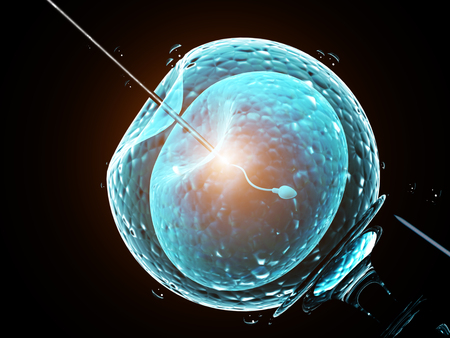Cell injection - artificial insemination. Needle puncture the cell membrane. Spermatozoon in egg. Isolated on black background. 3d render Standard-Bild