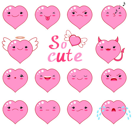 Set of cute funny heart emoticons.