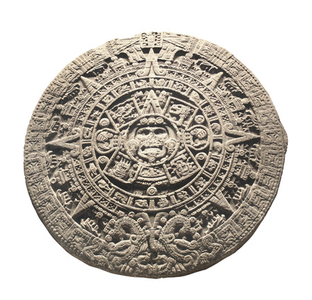 Ancient stone aztec calendar. Object isolated on white background 스톡 콘텐츠