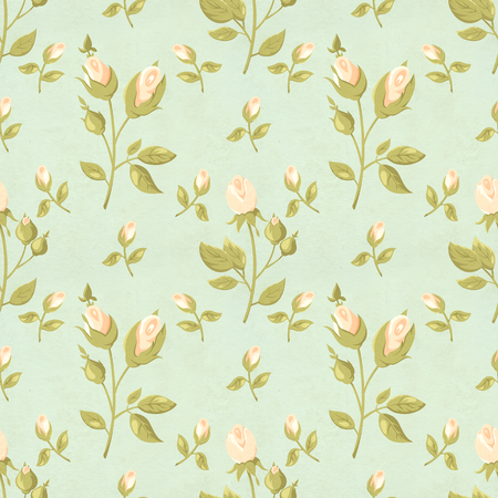 Seamless retro pattern (tiling) with rose flower in shabby chic style and old paper texture. Endless texture can be used for pattern fills, web page background, fabric design, scrapbooking paper