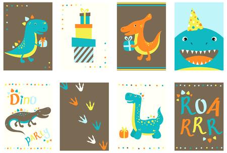 Conjunto de banner de cumpleaños, fondo, folleto, cartel con dinos lindos. Carteles y pegatinas de cumpleaños. Tarjeta de plantilla de vectores para saludo, decoración, felicitación, invitación en color retro. EPS8
