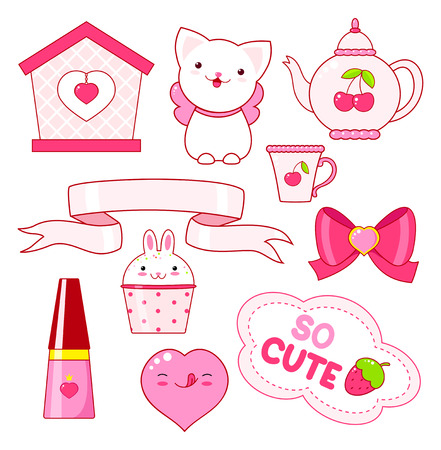 Cute little princess sticker set - cat, heart, nail polish, cupcake, bow, teapot, small house, ribbon, inscription so cute, ice cream. In pink color. EPS8