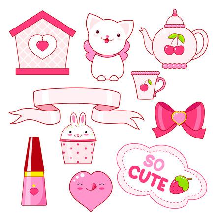 Cute little princess sticker set - cat, heart, nail polish, cupcake, bow, teapot, small house, ribbon, inscription so cute, ice cream. In pink color. EPS8
