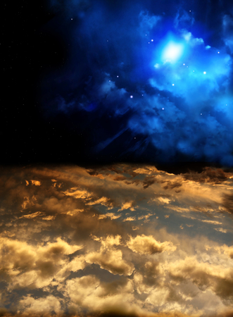 Beautiful sunset with storm sky and space nebula. Elements of this image furnished by NASA. 3d render 版權商用圖片