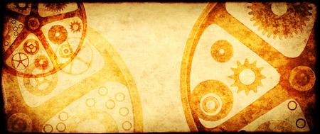 Grunge background in steampunk style with retro paper texture of brown color and vintage gears