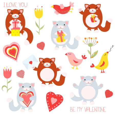 Be my Valentine. Valentines day collection of cute cartoon cats, flowers and birds in flat style.