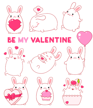 Set of cute rabbits in kawaii style. Illustration