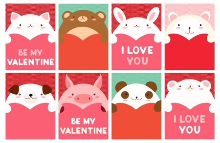 Be my Valentine. Valentine's day banner, background, flyer, placard with cute animals. Illustration