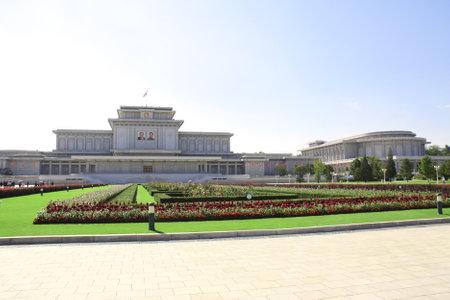 NORTH KOREA, PYONGYANG - SEPTEMBER 27, 2017: Kumsusan Memorial Palace of the Sun. Mausoleum and tomb of Kim Il Sung and Kim Jong Il. Capital of North Korea