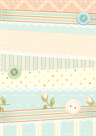Retro vector background in shabby chic style with buttons, laces and pieces of fabric with different ornaments. Can be used for vintage scrap booking design.