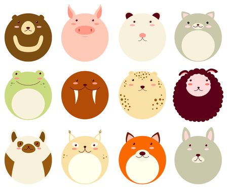 Collection of round avatars icons with faces of cute animals. Vector icons set in flat style. Zdjęcie Seryjne - 93434768