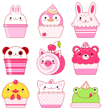 Vector set of animal shaped desserts - ice cream, cake, roll. Vanilla, chocolate, lemon, strawberry. With smiling face and pink cheeks. Chicken, panda, rabbit, frog, bear, pig, cat.