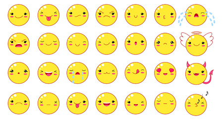 Funny kawaii style emoticon smileys set. Of yellow color with smiling faces, pink cheeks and winking eyes. Çizim