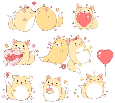 Collection of cute cats in different situations in kawaii style.