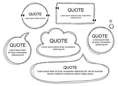 Vector collection of scribbled comic speech bubbles with hand drawn style. Copy space for quote. Set of template for your text.