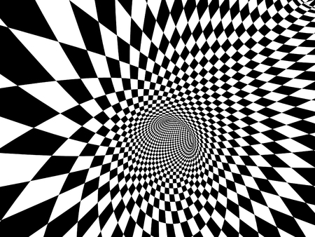 Abstract illusion. Geometric background with checkered texture of black and white colors. 3d render Stock fotó