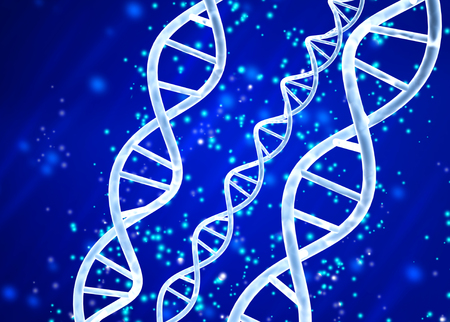 Digital models of DNA structure and magic sparks on abstract blue background. 3d render
