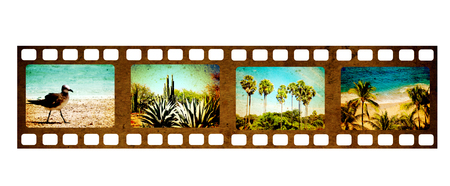 Retro filmstrip with four frame on film and grunge paper texture. Object isolated on white background. Mock up template for vacation design