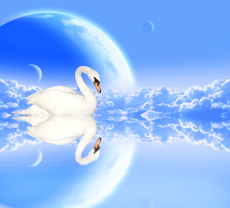 Mute swan on blue background with clouds and planets