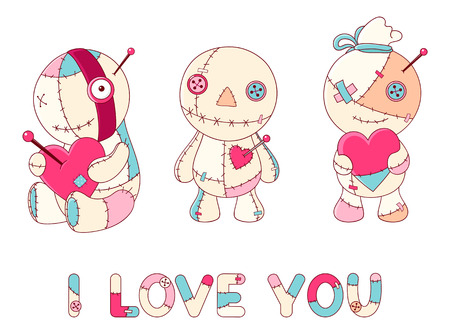 Collection of cute voodoo dolls in kawaii style with red hearts. Inscription I love you. EPS8