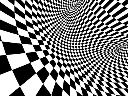 Abstract illusion. Geometric background with checkered texture of black and white colors. 3d render Foto de archivo - 95555903