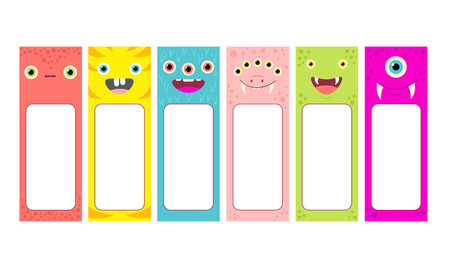 Set of memo pads with cute cartoon monsters faces. Labels for scrapbook vector template card for greeting, decoration, congratulation, invitations, sticker. Stock Illustratie