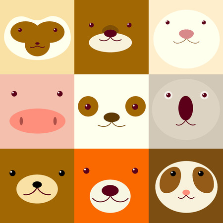 Collection of avatars icons with faces of cute animals, vector icons set in flat style.