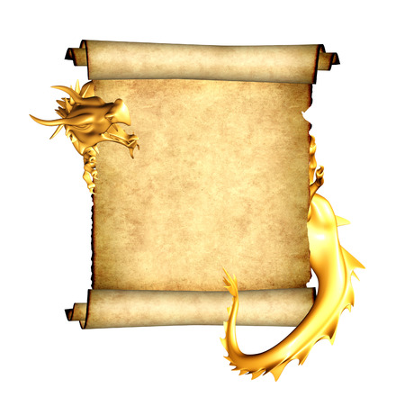Golden dragon and scroll of old parchment. Object isolated on white background. Mock up template. Copy space for text. 3d render Stock Photo