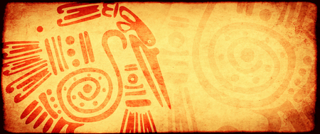 Background with grunge paper texture of yellow color and American Indian traditional patterns with heron. Copy space for text