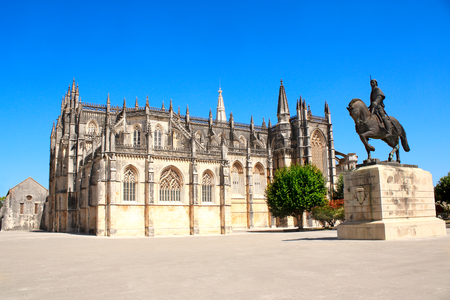 Nuno Alvares Pereira square, his monument and Santa Maria da Vitoria monastery, Batalha, Portugal