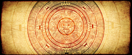 Grunge background with old paper texture and aztec calendar