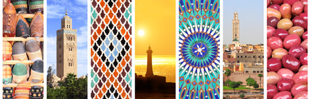 Set of vertical banners with famous places of Morocco. Koutoubia Mosque minaret in Marrakech, traditional moroccan mosaic wall, pickled olives on Moroccan market, lighthouse in Rabat, medina of Fez Standard-Bild - 96565354