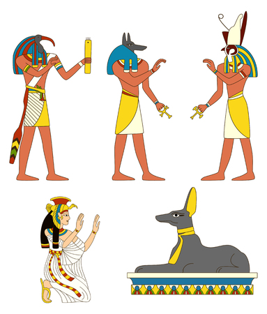 Collection of ancient Egyptian gods images illustration. Illustration