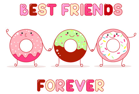 Three cute donuts with smiling face and pink cheeks for sweet design.