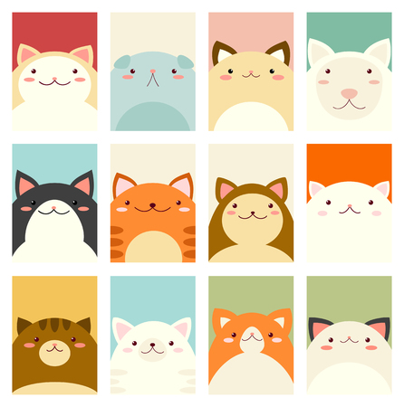 Banner, flyer or placard design with hand drawn style with cute cats.