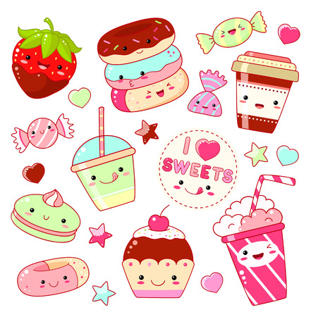 Set of cute sweet icons in kawaii style with smiling face and pink cheeks for sweet design.