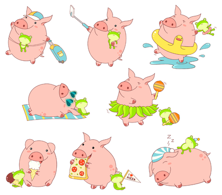 Set of cute funny pigs with favorite toy in kawaii style. Making selfie, rests on the beach, sleeps, with luggage, eats pizza and ice cream, dances in a skirt of leaves, bathes in the sea. EPS8 Archivio Fotografico - 99450337