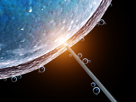 Cell injection - artificial insemination. Needle puncture the cell membrane. Isolated on black background. 3d render Stok Fotoğraf