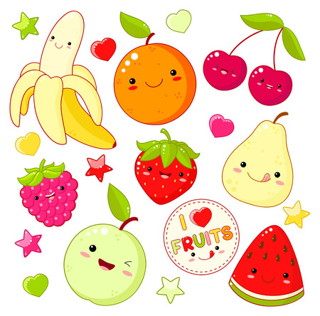 Set of cute sweet fruit icons in kawaii style with smiling face and pink cheeks. Sticker with inscription I love fruits. Apple, pear, cherry; orange, strawberry, watermelon, banana. EPS8