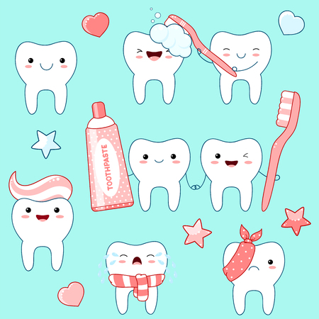 Set of cute funny teeth icons in kawaii style with smiling face and pink cheeks. Collection of illustrations on the topic of oral hygiene. EPS8 Illustration
