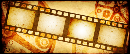 Grunge horizontal background in steampunk style with retro filmstrips and old paper texture. Mock up template. Copy space for text 스톡 콘텐츠 - 100753917