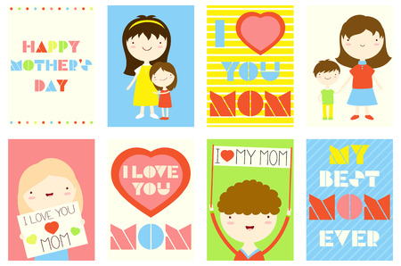 Happy Mother's day greeting cards set. Collection of banner, background, flyer, placard with cute mom, girls and boys. Vector template sticker for Mother's day greeting, decoration, congratulation. EPS8