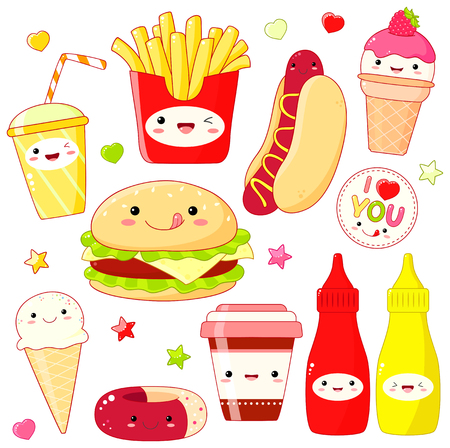 Set of cute fast food icon in kawaii style with smiling face and pink cheeks. Sticker with inscription I love you. Hamburger, donut, cups soda and coffee, hot dog, ice cream, ketchup, mustard. EPS8 Illustration